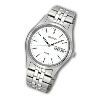 Mens Seiko Solar Stainless Steel Watch with White Dial (Model SNE031