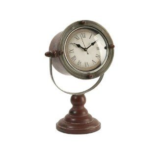 "13.75"" Antique Style Wooden Spotlight Shaped Roman Numeral Desk Clock"