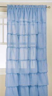 Lorraine Home Fashions Gypsy Shabby Chic Layered Ruffle Window Curtain Panel, 60 by 84 Inch, Blue   Window Treatment Panels