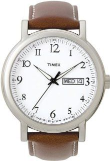 Timex Men's T2M489 Classic Silver Tone Leather Dress Watch at  Men's Watch store.