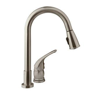 DF NMK503 SN   Pull Down RV Kitchen Faucet with Side Lever  Brushed Satin Nickel Finish For RV's, Motorhomes, 5th Wheels, Travel Trailers, and Towables   Lifetime Warranty Automotive