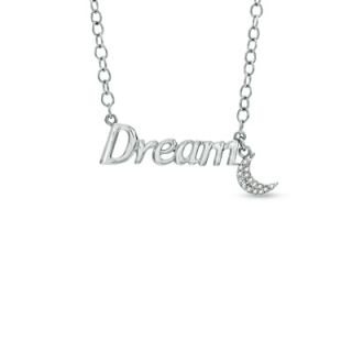 Necklace with Crescent Moon Charm in Sterling Silver   17   Zales
