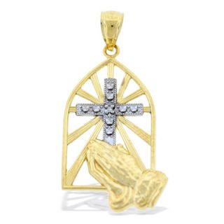 Diamond Accent Praying Hands Cross Necklace Charm in 10K Two Tone Gold