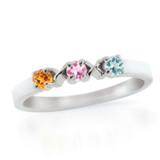 Personalized Birthstone Flower Mothers Ring in 10K Gold (3 7 Stones