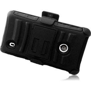 INSTEN For Nokia Lumia 521 Side Stand Case With Holster Black+Black Accessories