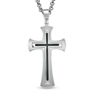 Stainless Steel Cross Pendant with Black Resin Inlay   24   Zales