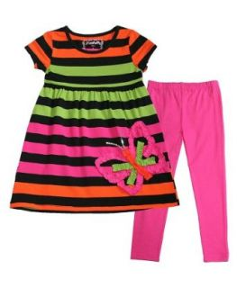 Flapdoodles Girls 4 6x Rainbow Stripe Butterfly Applique Dress Leggings Outfit, 4 Clothing