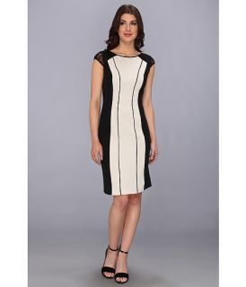 Adrianna Papell Beaded Shine Sheath Dress Vanilla