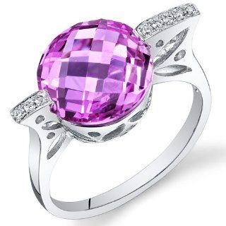 Peora 14K White Gold Round Created Pink Sapphire Diamond Ring (6.85 cttw) Peora Jewelry