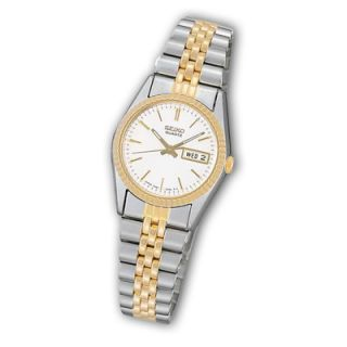 Ladies Seiko Two Tone Stainless Steel Watch with White Dial (Model