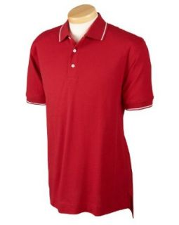 Devon & Jones Men's Pima Pique Short Sleeve Tipped Polo Shirt D113 at  Men�s Clothing store