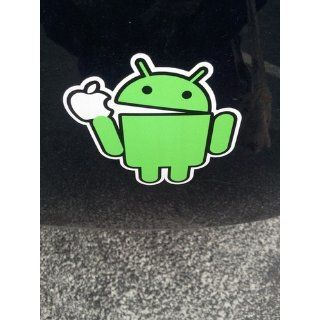 "Android Eating Apple Funny Vinyl Decal Bumper Sticker 4""x4"" Automotive"