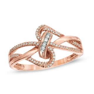 CT. T.W. Diamond Looping Ribbon Ring in 10K Rose Gold   Zales