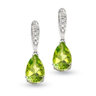 Pear Shaped Peridot Earrings in 10K White Gold with Diamond Accents