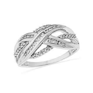 CT. T.W. Diamond Open Shank Criss Cross Ring in Sterling Silver