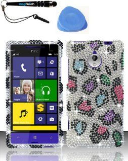 3 Item Combo HTC 8XT (Sprint) Full Diamond Design Case Cover Protector   Colorful Leopard FPD +iMAGITOUCH(TM) Touch Screen Stylus Pen AND Pry Tool Cell Phones & Accessories