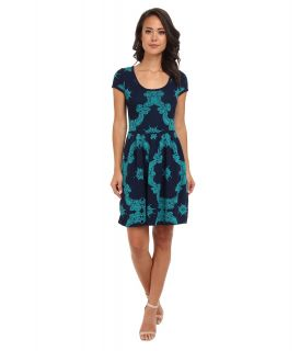 ROMEO & JULIET COUTURE S/S Printed Engineered Knit Dress Womens Dress (Green)