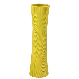 Etched Geometric Ceramic Yellow Vase Urban Trends Collection Vases