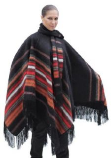 Ethnic Natural Alpaca Wool Poncho Cape Cloak with matching Scarf Black One Sz at  Men�s Clothing store Apparel Accessories