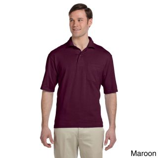 Jerzees Jerzees Mens Clean finished Pocket Polo Sport Jersey Brown Size XXL