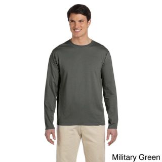 Gildan Mens Softstyle Cotton Long Sleeve T shirt Green Size XXL