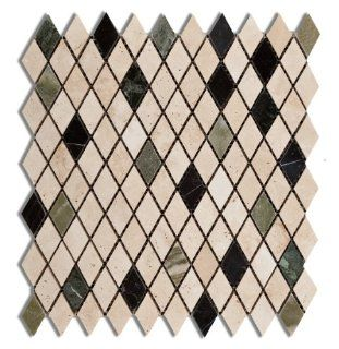 Multi color Marble & Travertine Prato Harlequin (Diamond / Rhomboid) Polished Mosaic Tile   Box of 5 Sheets