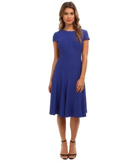 Jessica Howard Cap Sleeve Seamed Pin Tuck Fit Flare Dress Womens Dress (Blue)