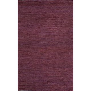 Hand woven Naturals Solid Pattern Pink/ Purple Rug (36 X 56)
