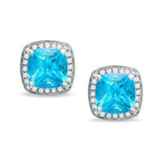 Cushion Cut Blue Topaz Stud Earrings in 14K White Gold with Diamond