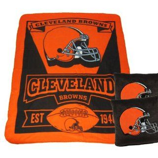 A set of 3 Piece Gift Set 2 NFL Team Pillows and 1 NFL Fleece Throw Team Blanket   Cleveland Browns Automotive
