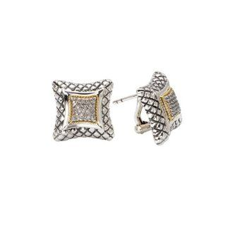 925 Silver & Diamond Contemporary Style Earrings with 18k Gold Accents (0.25ctw) Firenze Collection Jewelry