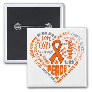 COPD Awareness Heart Words (orange) Pins