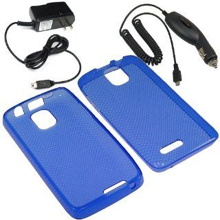 Eagle TPU Sleeve Gel Cover Skin Case for Cricket ZTE Engage LT N8000 + Car + Home Charger Blue Cell Phones & Accessories