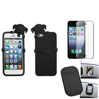 eForCity Film + Mat + Cute Black Dog Peeking Pets Rubber Silicone Case Skin compatible with iPhone® 5 g Cell Phones & Accessories