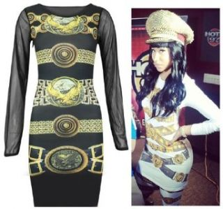 Womens Nicki Minaj Long Chiffon Sleeved Eagle Belt Print Mini Dress (Mtc)
