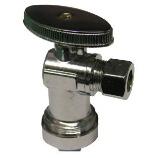 LASCO 06 9293 Quarter Turn Angle Stop Valve 5/8 Inch OD (1/2 Inch Copper, 5/8 Inch PEX or OD Cpvc) Quick Connect X 3/8 Inch Compression, Chrome Plated Brass   Pipe Fittings