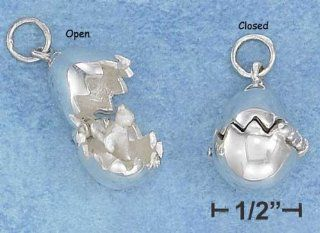 Sterling Silver 3d Egg Pendant with Baby Chick Inside
