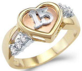 Solid 14k Yellow Gold 15 Birthday Quinceanera Heart CZ Cubic Zirconia Ring Jewelry