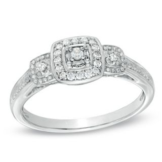 CT. T.W. Diamond Vintage Style Three Stone Promise Ring in