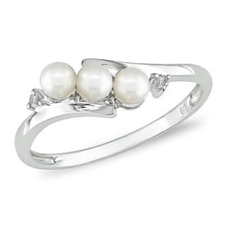 5mm Cultured Freshwater Pearl Three Stone Slant Ring in 10K