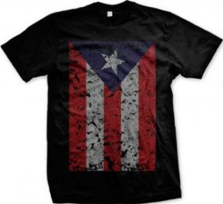 Oversized Puerto Rican Flag Men's T shirt, Boricuan Pride Big Distressed Puerto Rico Flag Design Men's Tee Clothing