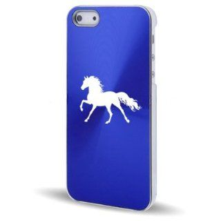 Apple iPhone 5 5S Blue 5C581 Aluminum Plated Hard Back Case Cover Horse Cell Phones & Accessories