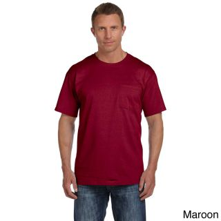 Fruit Of The Loom Fruit Of The Loom Mens Heavyweight Cotton Chest Pocket T shirt Brown Size XXL