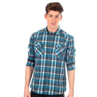 191 Unlimited Mens Slim fit Blue Plaid Woven Long sleeve Shirt