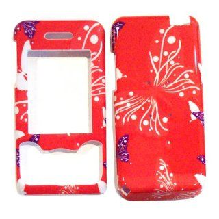 Hard Plastic Snap on Cover Fits Sony Ericsson W580i Butterfly Dot/Hot Pink AT&T Cell Phones & Accessories