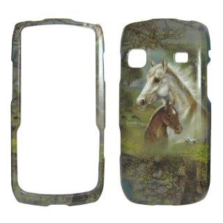 Samsung Replenish M580   Horses & Trees Colorful Painting Shinny Gloss Finish Hard Plastic Cover, Case, Easy Snap On, Faceplate. Cell Phones & Accessories