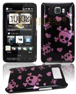 Premium   HTC HD2 Clip On Protex Engraved Pink Cutie Skull/Black TD Protective Case(CarrierT Mobile)   Faceplate   Case   Snap On   Perfect Fit Guaranteed Cell Phones & Accessories