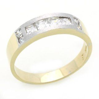 14K Engagement Ring 0.5ctw CZ Cubic Zirconia Men's Wedding Band Two Tone Gold Ring Jewelry