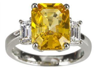 Platinum Yellow Sapphire Ring with Emerald Cut Diamond Side Stones (5.69 ct yellow Sapphire center, 0.91 cttw Diamond), Size 6 Jewelry