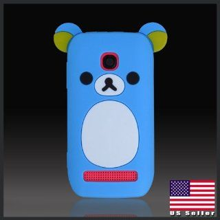 Cool Cute Girls Blue Teddy Bear silicon silicone soft case cover for Nokia 603 N603 Cell Phones & Accessories